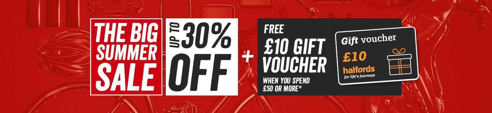 Free £10 gift voucher when you spend £50 or more